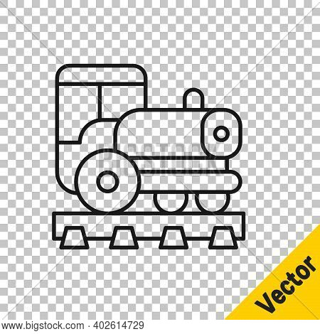 Black Line Vintage Locomotive Icon Isolated On Transparent Background. Steam Locomotive. Vector