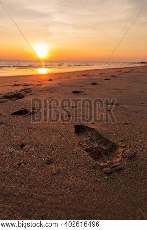 Beautiful Sunset. Landscape Of Island Beach. Colorful Ocean Beach Sunset.
