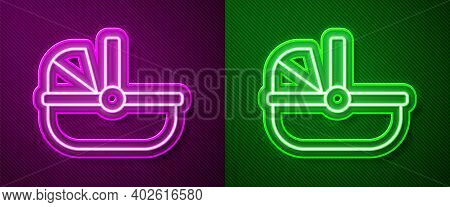 Glowing Neon Line Baby Stroller Icon Isolated On Purple And Green Background. Baby Carriage, Buggy,