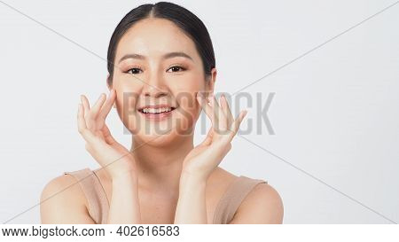 Young Asian Woman Beauty Face Make Up For Skincare Cosmetic