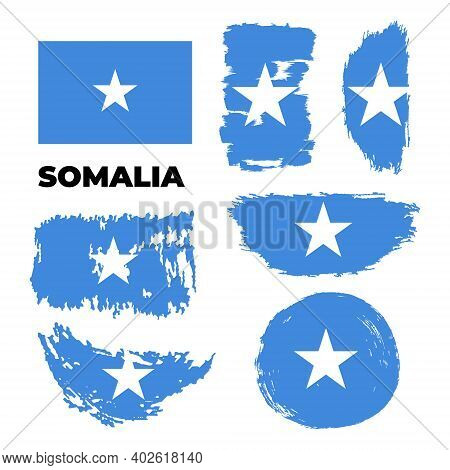 Artistic Grungy Watercolor Brush Flag Of Somalia Country.