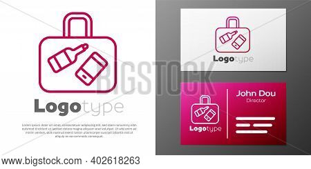 Logotype Line Suitcase For Travel Icon Isolated On White Background. Traveling Baggage Sign. Travel
