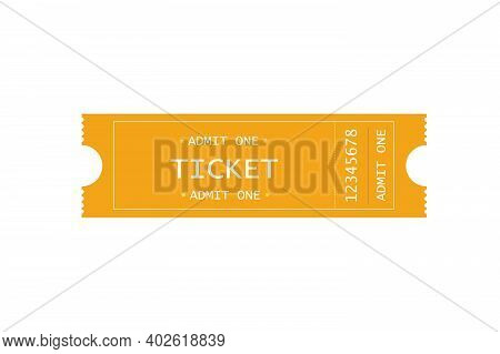 Vector Admission Gold Ticket In A Flat Style