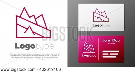 Logotype Line Mountain Descent Icon Isolated On White Background. Symbol Of Victory Or Success Conce