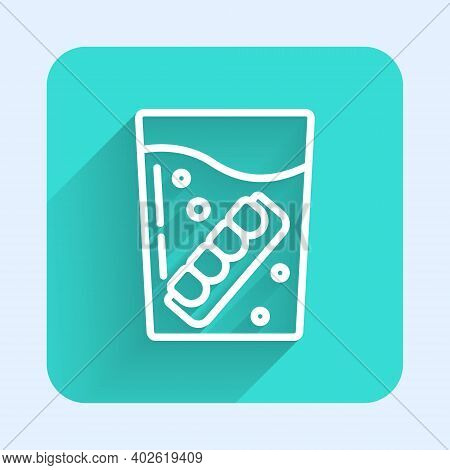 White Line False Jaw In Glass Icon Isolated With Long Shadow. Dental Jaw Or Dentures, False Teeth Wi