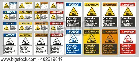 Corrosive Materials,wear Required Protection On White Background