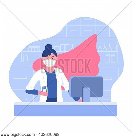 You Are Our Heroes. Pharmacist Woman In Mask With Superhero Cloak In Pharmacy During Quarantine. Apo