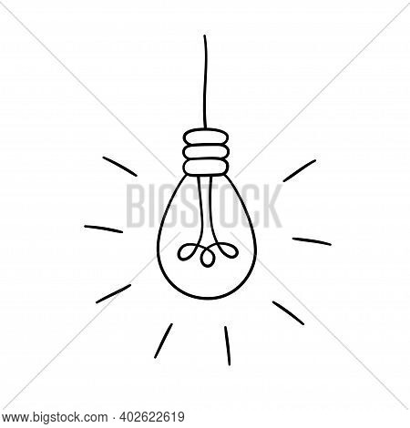 Hand Drawn Glowing Light Bulb. Collection Of Loft Lamps In Doodle Style. Isolated Objects On White B