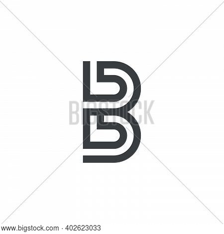 Abstract Letter Bb Simple Geometric Stripe Line Logo Vector
