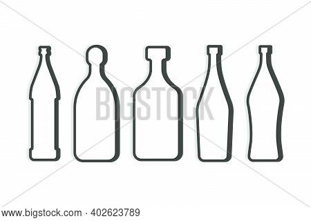 Beer And Tequila Rum Martini Vermouth Bottle. Linear Shape. Simple Template. Isolated Object. Symbol