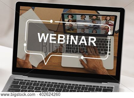 Technologies In Education. Modern Laptop With Webinar Inscription On Screen, Creative Image. Closeup