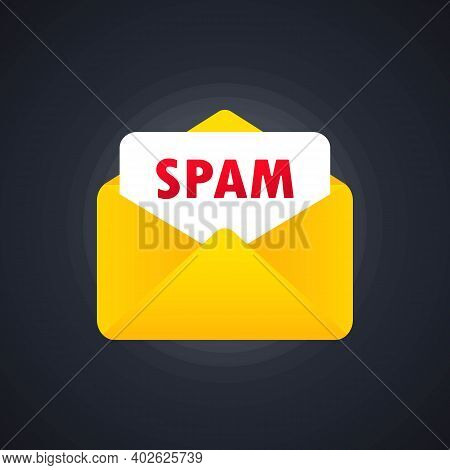 Envelope With Spam. Stop Spam Vector Illustration. Email Spam, Vector Icon. Spamming Mailbox Concept