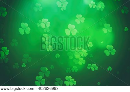 St Patricks Day Background Green Clover Leaf Bokeh Lights Defocused For St Patricks Day Celebration