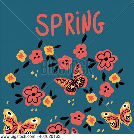 Postcard With Butterflies And Flowers. Cute Moths And Moths On A Background Of Flowers. With Letteri