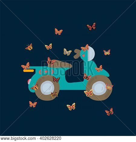 Illustration Of Delivery And Butterflies. Nice Bike And A Moth. Postcard With Soaring Multicolored,