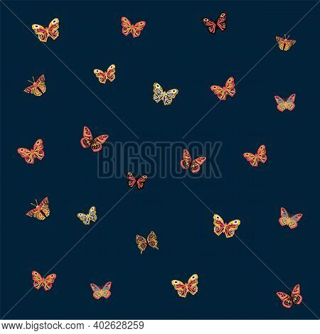 Pattern Of A Butterfly. Cute Moths And Moths On The Backing. Postcard With Soaring Multicolored, Win