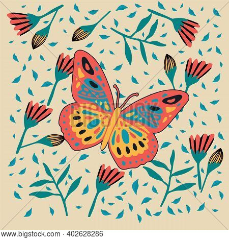 Illustration Of A Bright Butterfly. Cute Moth In The Tropics Of The Forest. Postcard Soaring, Multic