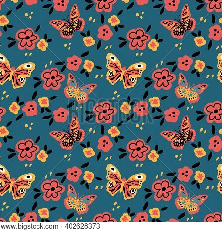 Butterfly Pattern With Flowers. Cute Moths And Moths On A Background Of Flowers. Poster Texture With