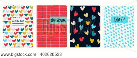 Cover Page Templates Based On Seamless Patterns With Multicolored Heart Shapes, Red Plaid, Marker In