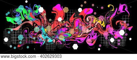 Graffity With Abstract Bright Multycolor Pattern Layered Eps10 Vector Illustration Isolated On Black