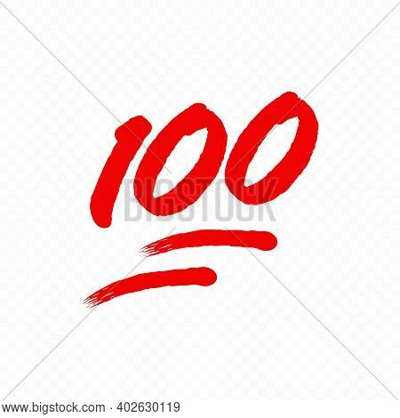 100 Percent Emoji. One Hundred Percent Sign. Vector Eps 10. Isolated On Transparent Background.