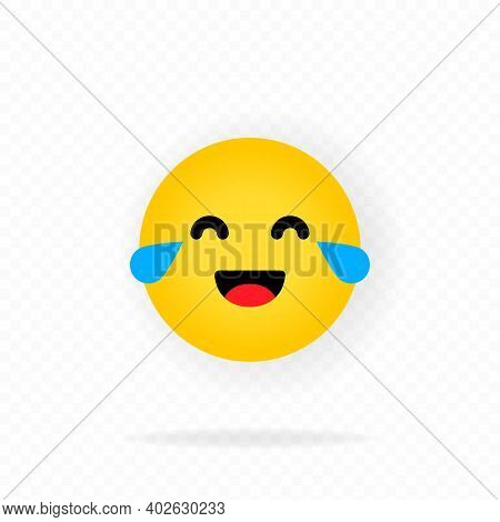 Yellow Emoji Icon. Laughing Emoji. Happy Face With Smile Emoticon. Chat, Comment, Reaction Emotes. S