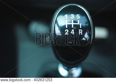 Manual Car Gear Stock Image - Manual Five Speed Gearbox In The Car Macro. Five Speed Gearshift For A