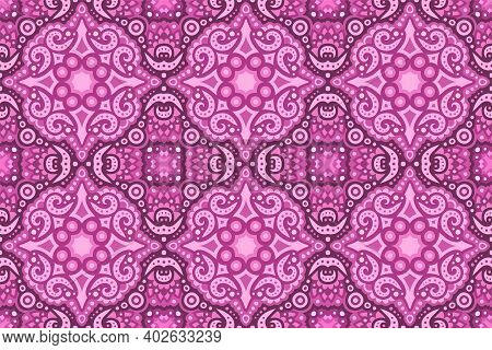 Beautiful Colorful Pink Background With Vintage Eastern Seamless Tile Pattern