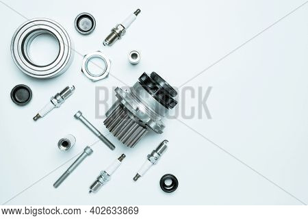 Automotive Parts. Set Of New Metal Car Part. Auto Motor Mechanic Spare Or Automotive Piece Isolated