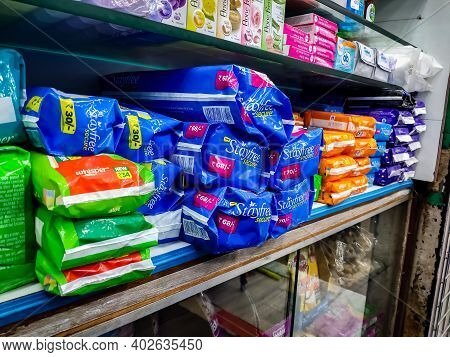 Chennai, Tamilnadu, India - January 5th 2021: Sanitary Napkins Packets In Local Supermarket. Sel