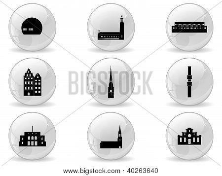 Web buttons, landmark icons - Stockholm
