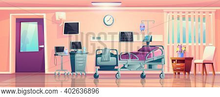 Interior Of Hospital Ward Room, Post-operation Recovery Bed And Medical Equipment Cartoon Design. Ve