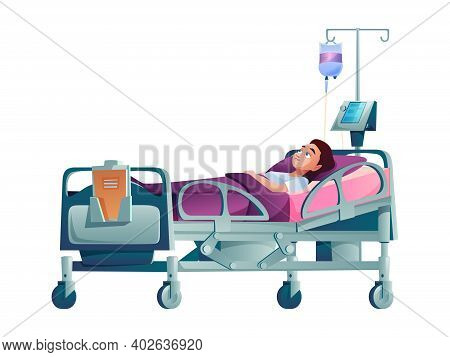 Young Patient In Hospital Bed With Dropper Isolated Cartoon Person. Vector Ill Character Under Drip
