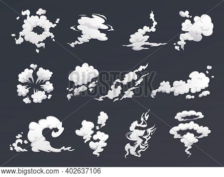Smoke Clouds Set Of Special Effects Isolated On Dark Background. Vector Cartoon Steam Or Fog, Cloud
