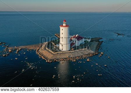 Panoramic Aerial View Of The Tolbukhin Lighthouse. Artificial Rocky Island In The Gulf Of Finland. T