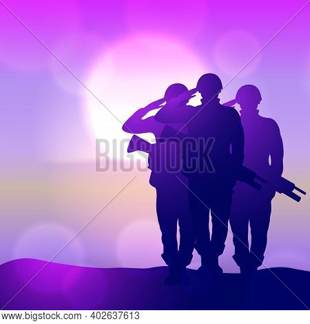 Silhouette Of A Soliders Saluting Against The Sunrise. Concept - Protection, Patriotism, Honor.