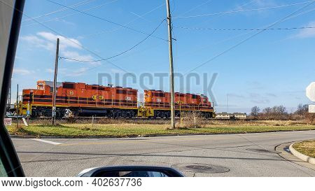 Lima, Oh December 22, 2020, A Pair Of Two Chicago, Fort Wayne And Eastern Railroad Diesel Locomotive