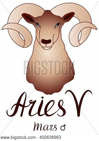 Aries Is A Sign Of The Zodiac. Artistic, Color, Handdrawn Image Of The Aries Zodiac With A Symbol On