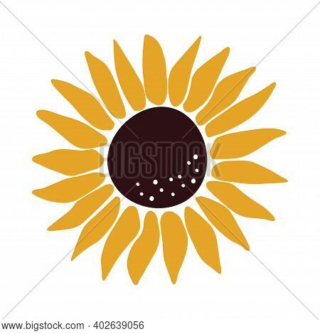 Typography Poster With Sunflower. Hand Drawn Lettering Print Hello. Vector Illustration For House In