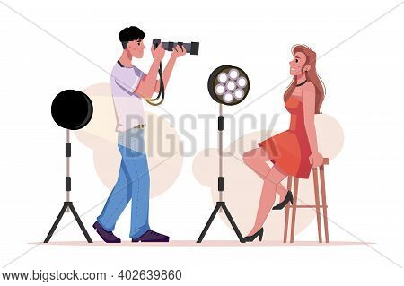 Photographer Photographing Model, Lighting Equipment Isolated Flat Cartoon Man And Woman In Photo Sh