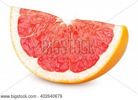 Isolated Grapefruit. Ripe Slice Of  Grapefruit Isolated On White Background. Grapefruit Wedge With C