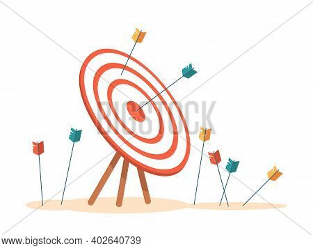 Bullseye With Arrows Hitting Aim, Isolated Target With Missed And Failed Attempts. Business Mission