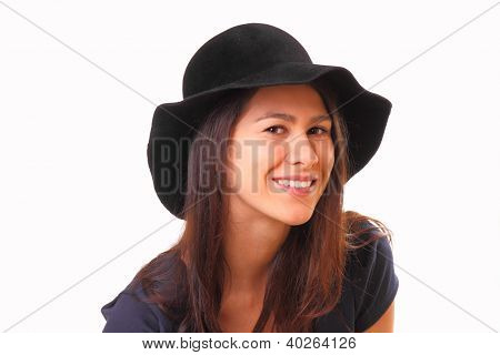 Pretty And Smiling Young Woman In A Black Hat