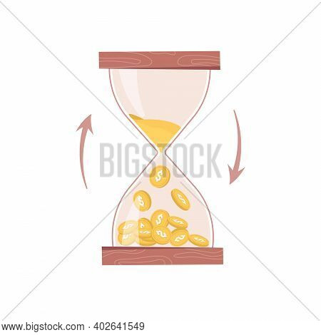 Hourglass, Sand Or Time Turns Into Money Isolated Business Countdown Flat Cartoon Icon. Vector Time