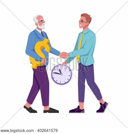 Exchange Of Time And Money, Employer And Employee, Beneficial Cooperation Isolated Young And Adult F
