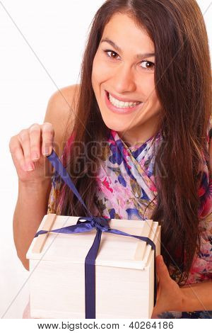 Pretty Young Woman With Holiday Gift