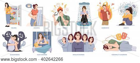 People Suffering From Mental Disorders And Illnesses. Bulimia And Anorexia, Stress And Depression, A