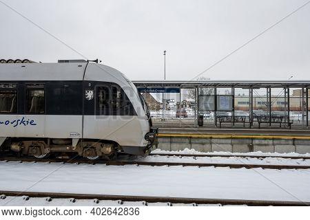 Gdansk, Poland - January 10, 2021:pomeranian Metropolitan Railway In Gdansk During Winter