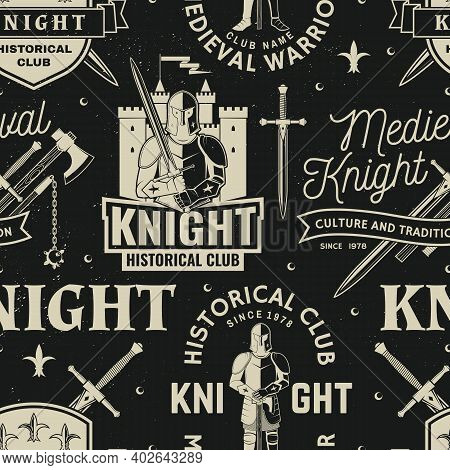 Set Of Knight Historical Club Seamless Pattern Design. Vector Concept For Shirt, Print, Stamp, Overl