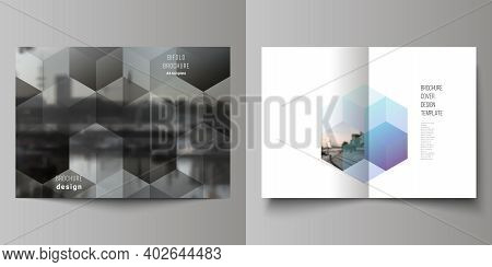 Vector Layout Of Two A4 Format Cover Mockups Design Templates With Colorful Hexagons, Geometric Shap